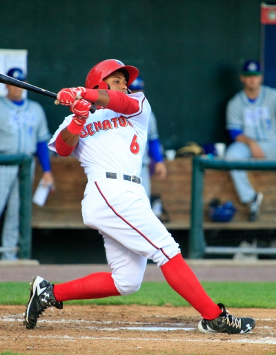 Wilmer Difo broke the nightcap open with a bases-loaded single in the 4th inning (Will Bentzel / MiLB)