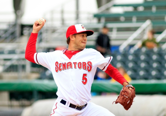 Jaron Long improved to 3-2 with seven strong innings, striking out a season-high eight batters. (Will Bentzel / MiLB)