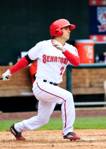 Stephen Perez hit his first home run of the season in the Senators' loss. (Will Bentzel / MiLB)